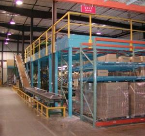 Mezzanine with conveyor