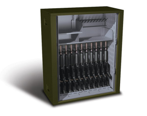 This cabinet has easily operated perforated horizontal tambour doors that allow you to visibly manage your inventory